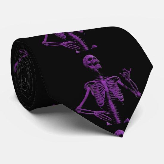 Purple air guitar skeleton neck tie
