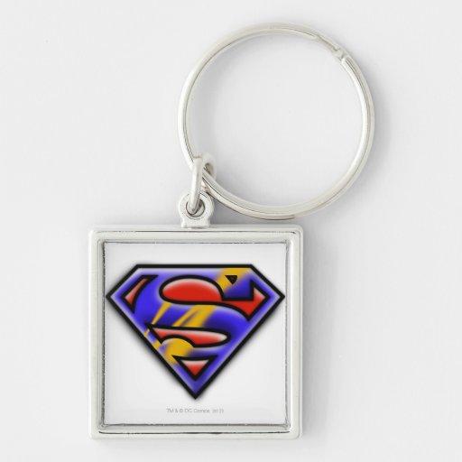 Purple Airbrush Superman Logo Key Chains