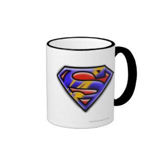 Purple Airbrush Superman Logo Ringer Coffee Mug