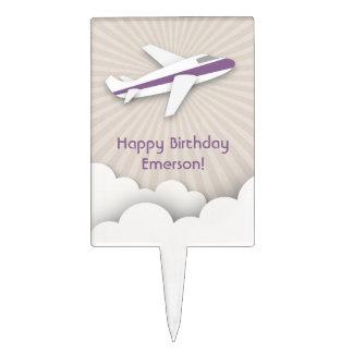 Purple Airplane Birthday Cake Pick