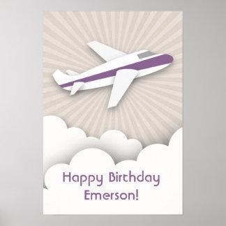 Purple Airplane Birthday Poster