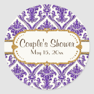 purple-AJR-SDH-DAMASK-WHITE-glitter-NG2.jpg Classic Round Sticker