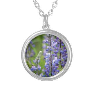 Purple Alaskan Lupines Round Pendant Necklace