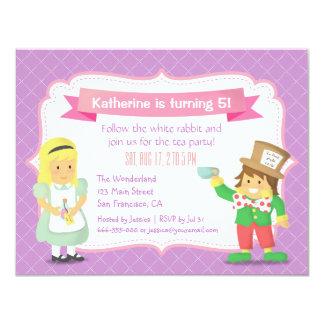 Purple Alice in Wonderland Birthday Tea Party 4.25x5.5 Paper Invitation Card