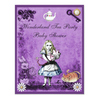 Purple Alice in Wonderland Tea Party Baby Shower 4.25x5.5 Paper Invitation Card