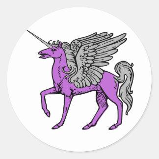 Purple Alicorn/Pegacorn/Winged Unicorn Classic Round Sticker