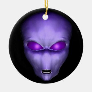 Purple Alien Ceramic Ornament