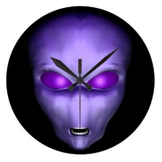 Purple Alien Large Clock
