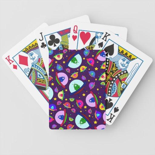 Purple alien spaceship pattern bicycle playing cards