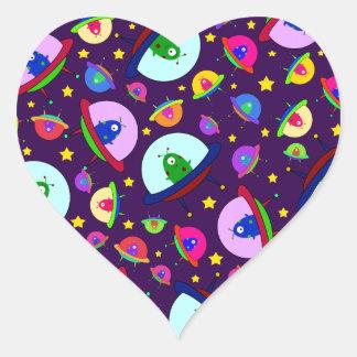 Purple alien spaceship pattern heart sticker
