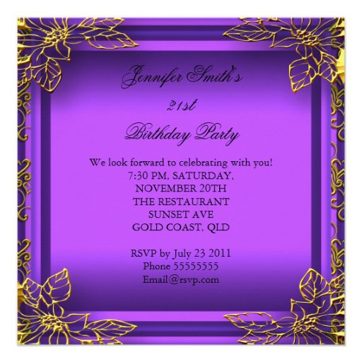 Purple All Occasions Elite Elegant Party Gold Personalized Announcement