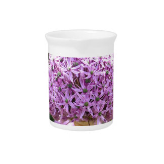 Purple Allium Flower Beverage Pitcher