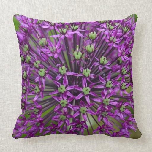 Lavender Flower Throw Pillow : Purple allium flower print throw pillow Zazzle