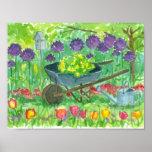 Purple Allium Flowers Wheelbarrow Garden Painting Poster