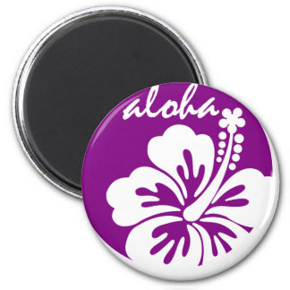 Purple aloha flower circle 2 inch round magnet