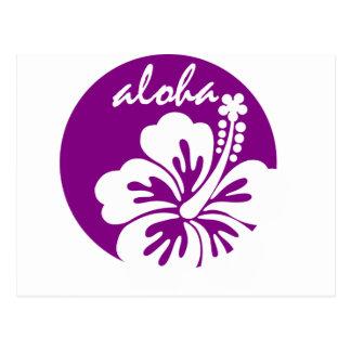 Purple aloha flower circle postcard