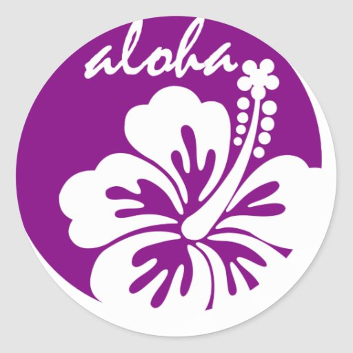 Purple aloha flower circle stickers