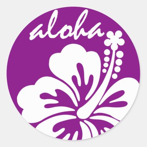 Purple aloha flower circle round stickers