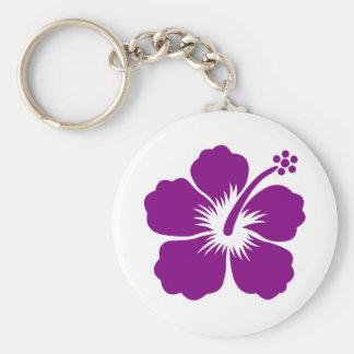 Purple aloha flower keychain