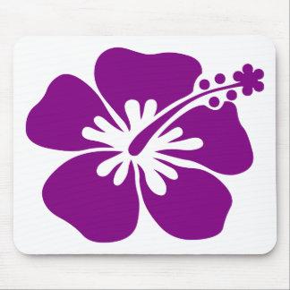 Purple aloha flower mouse pad