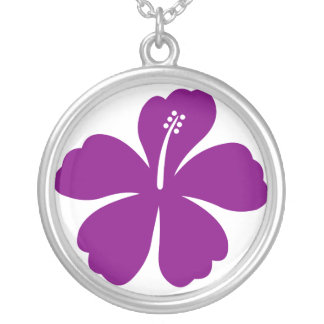 Purple aloha flower Necklace