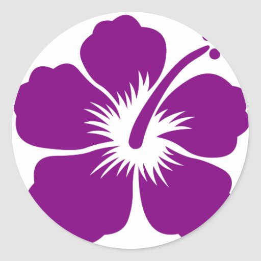 Purple aloha flower sticker