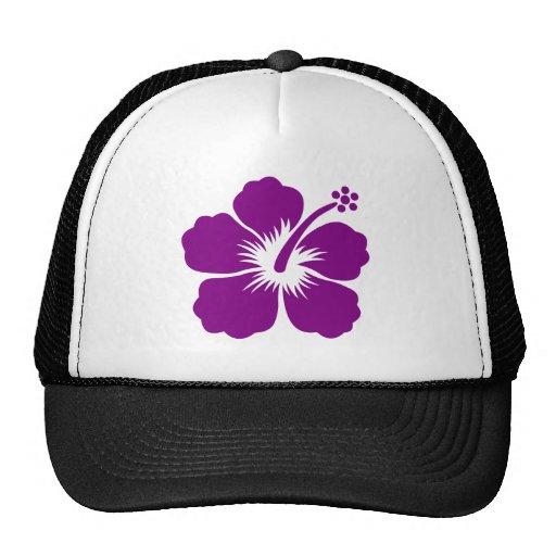 Purple aloha flower trucker hat