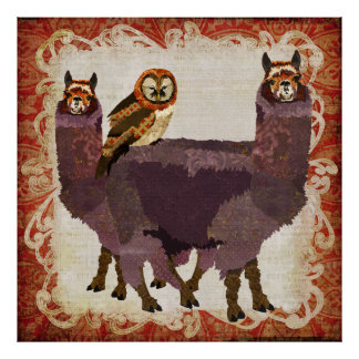 Purple Alpacas Amber Owl Art Poster