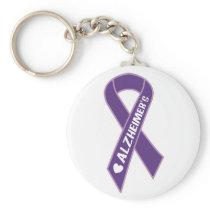 Purple Alzheimer's Ribbon Keychain
