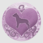 Purple American Pit Bull Terrier Valentine Stickers