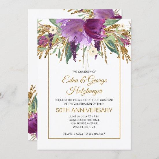 Purple Amethyst and Gold 50th Wedding Anniversary Invitation