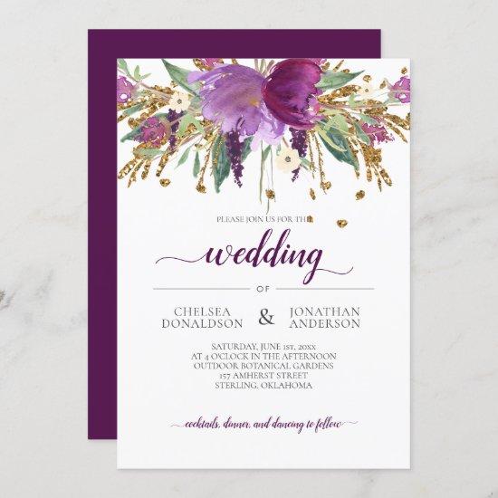 Purple Amethyst and Gold Floral Wedding Invitation