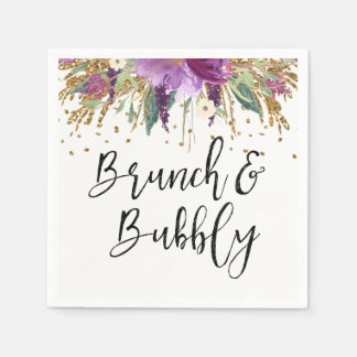 Purple Amethyst Brunch and Bubbly Bridal Shower Napkin