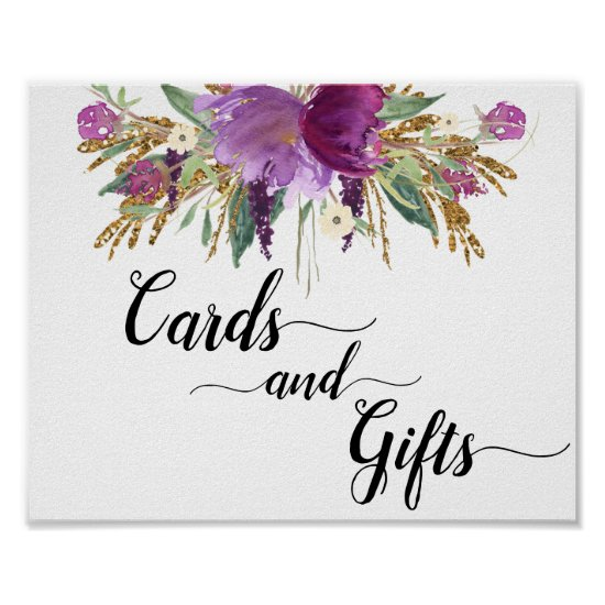 Purple Amethyst Floral Cards & Gifts Sign