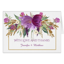 Purple Amethyst Flowers Gold Glitter Thank You Card
