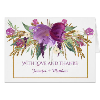 Purple Amethyst Flowers Gold Glitter Thank You Card