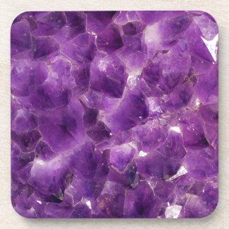 Purple Amethyst Gemstone Rock February Birthstone Beverage Coaster