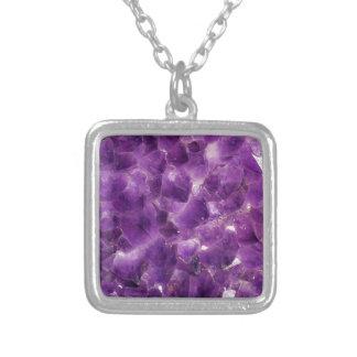 Purple Amethyst Gemstone Rock February Birthstone Silver Plated Necklace