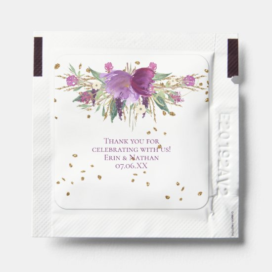 Purple Amethyst & Gold Floral Wedding Thank You Hand Sanitizer Packet