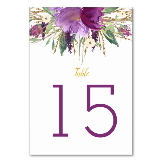 Purple Amethyst Gold Glitter Floral Table Cards #2