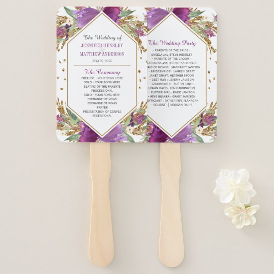 Purple Amethyst Gold Glitter Frame Wedding Program Hand Fan