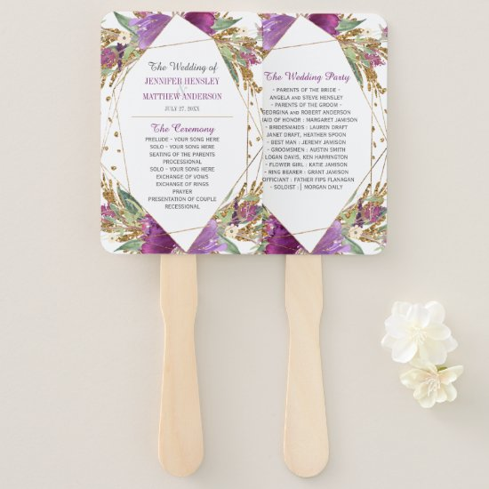 Purple Amethyst Gold Glitter Geometric Frame Hand Fan