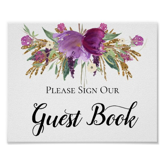 Purple Amethyst Gold Sparkles Guest Book Sign