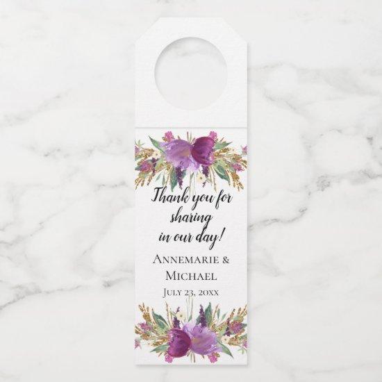 Purple Amethyst Gold Sparkles Watercolor Flowers Bottle Hanger Tag