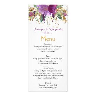 Purple Amethyst Gold Watercolor Flowers Menu Cards