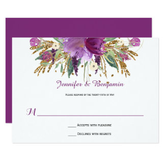 Purple Amethyst Gold Watercolor Flowers RSVPs Card