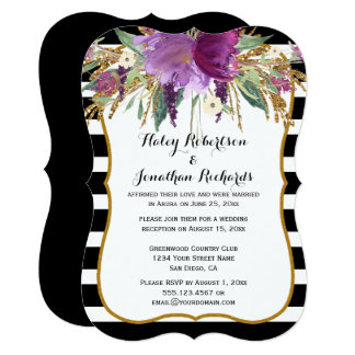 Purple Amethyst Gold Watercolor Flowers Weddings Card