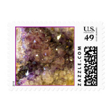 Purple Amethyst Mineral Crystals Close-Up Photo Postage