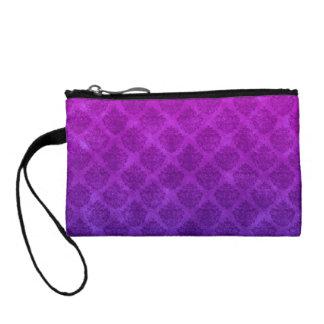 Purple Amethyst Ornate Damask Grunge Texture Change Purse