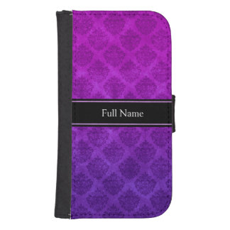 Purple Amethyst Ornate Damask Grunge Texture Phone Wallet